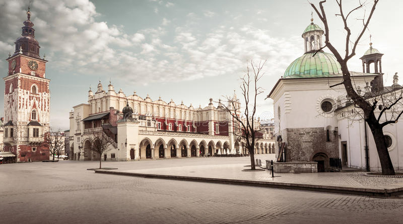 Krakow main square. With sukiennice and town hall in the background royalty free stock photo