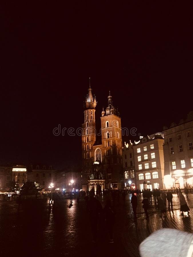 Krakow market square night. Krakow market square stock photos