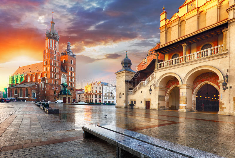 Krakow Market Square, Poland. Krakow Market Square in Poland stock photography