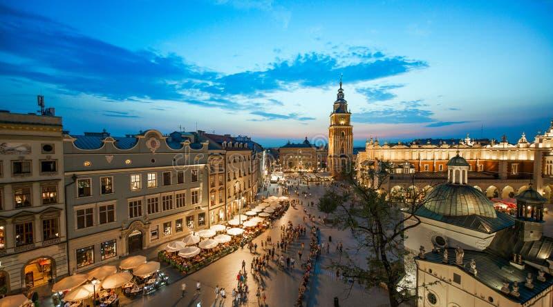 Krakow Market Square, Poland. Cityscape view of Krakow Market Square, Poland at sunset stock image