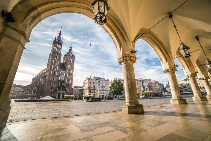 Krakow Market Square, Poland. Historic Krakow Market Square in the Morning, Poland stock image