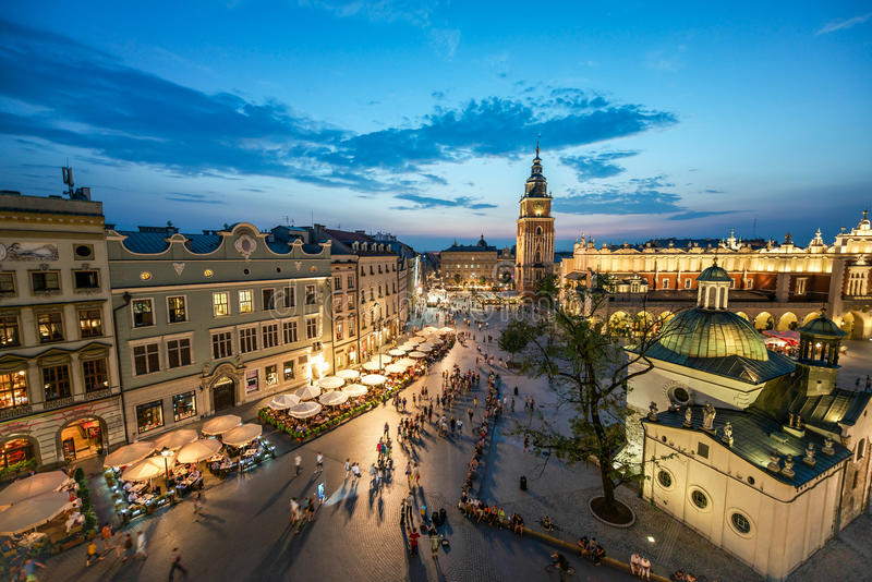 Krakow Market Square, Poland. Krakow Market Square at sunset stock photos