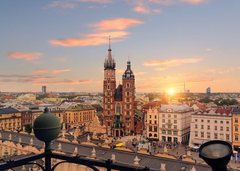 Krakow Market Square after sunset, Poland. Europe stock images
