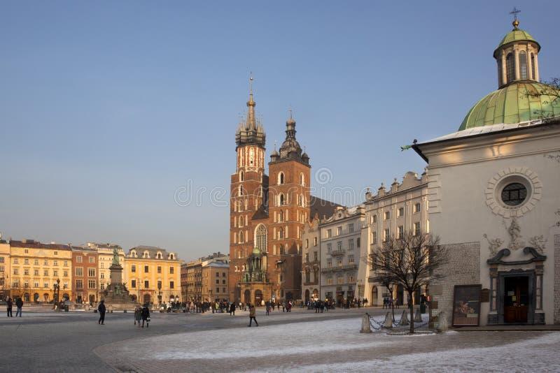 krakow marknadspoland fyrkant fotografering för bildbyråer