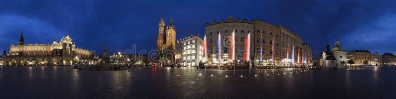 Krakow old town main market square. Panorama at night royalty free stock photos