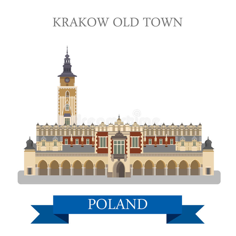 Krakow Old Town Poland Europe flat vector attraction landmark. Krakow Old Town in Poland. Flat cartoon style historic sight showplace attraction web site vector stock illustration