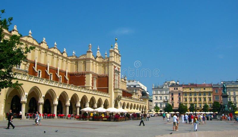 Krakow old town, Runok market square. Krakow in Poland historical city center, old town, Runok market square, St. Mary's Basilica stock photography