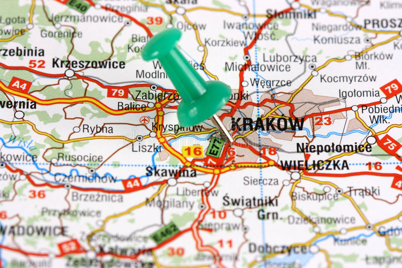 Krakow pinned on map stock image Image of pinned pushpin 4528855