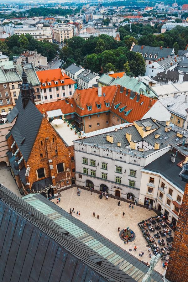 Aerial view on the central square of Krakow, Poland royalty free stock images