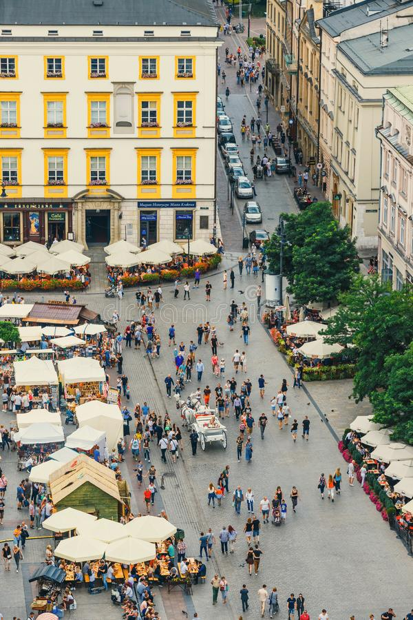 Aerial view on the central square of Krakow, Poland. Krakow, Poland, August 14, 2016: Aerial view on the central square of Krakow, Poland royalty free stock photos
