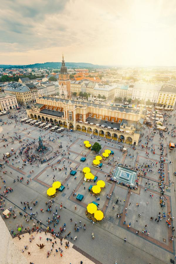 Aerial view on the central square of Krakow, Poland stock photos