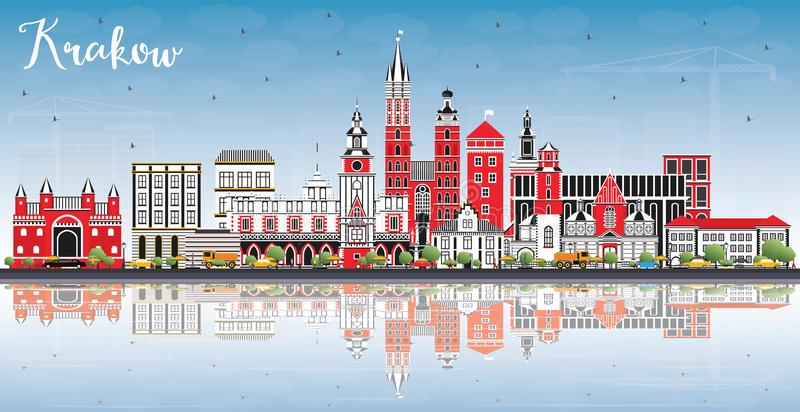 Krakow Poland City Skyline with Color Buildings, Blue Sky and Re. Flections. Vector Illustration. Business Travel and Tourism Concept with Historic Architecture stock illustration