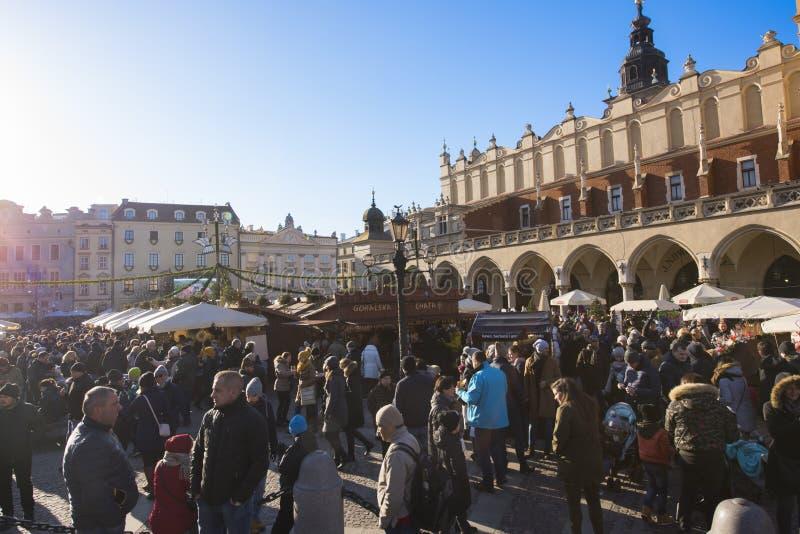 Krakow Christmas Market 2017. KRAKOW, POLAND - DECEMBER 10, 2017: Annual Christmas market in Krakow`s medieval Old Town Main Market Square royalty free stock image