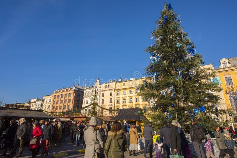 Krakow Christmas Market 2017. KRAKOW, POLAND - DECEMBER 10, 2017: Annual Christmas market in Krakow`s medieval Old Town Main Market Square stock image