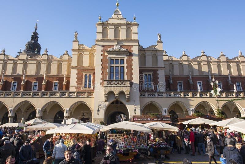 Krakow Christmas Market 2017. KRAKOW, POLAND - DECEMBER 10, 2017: Annual Christmas market in Krakow`s medieval Old Town Main Market Square stock photo