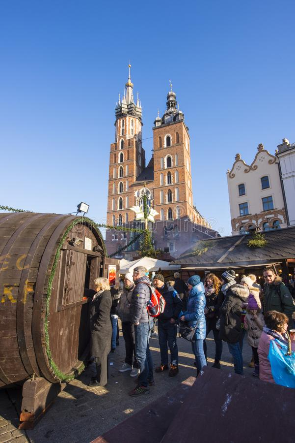 Krakow Christmas Market 2017. KRAKOW, POLAND - DECEMBER 10, 2017: Annual Christmas market in Krakow`s medieval Old Town Main Market Square royalty free stock photos