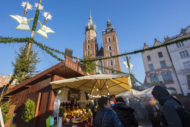 Krakow Christmas Market 2017. KRAKOW, POLAND - DECEMBER 10, 2017: Annual Christmas market in Krakow`s medieval Old Town Main Market Square royalty free stock photo