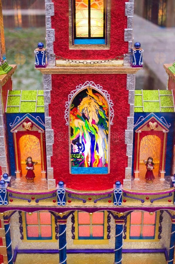 Christmas crib in Krakow, Poland. Krakow, Poland - December 11, 2017: Christmas crib. A lot of such cribs are exhibited in the town before the Christmas. This is stock photo