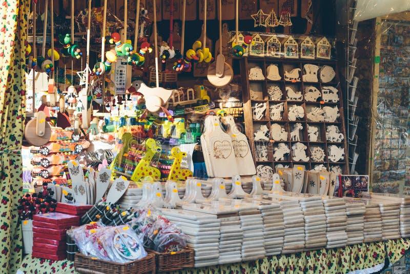 Christmas market wooden souvenirs stock image