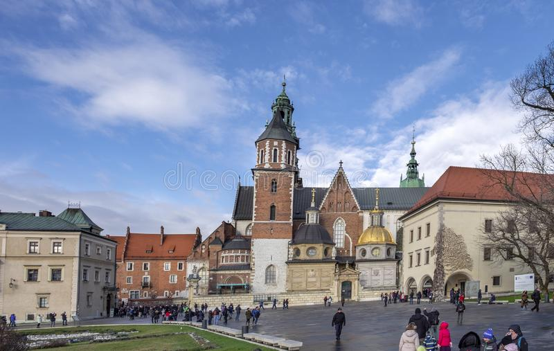 Panoramic view of Wawel Cathedral, inside the Wawel Castle in Krakow, Poland. KRAKOW, POLAND - DECEMBER 9, 2019: Panoramic view of Wawel Cathedral, inside the stock photo