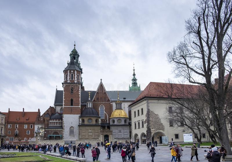 View of Wawel Cathedral, inside the Wawel Castle in Krakow, Poland. KRAKOW, POLAND - DECEMBER 9, 2019:  view of Wawel Cathedral, inside the Wawel Castle in royalty free stock photography