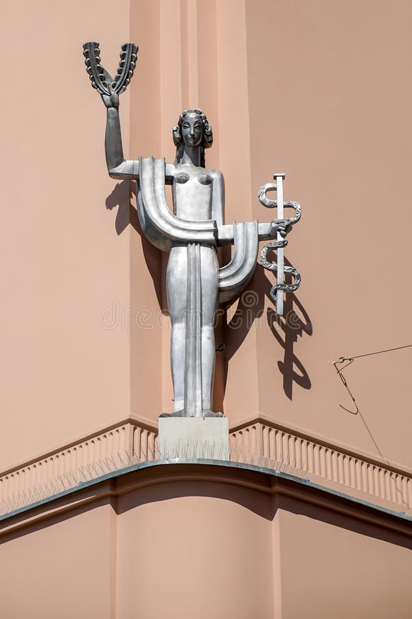 KRAKOW, POLAND/EUROPE - SEPTEMBER 19 : Modern sculpture of a woman in Krakow Poland on September 19, 2014 royalty free stock photo