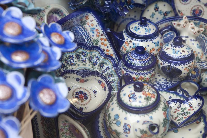 Download Ceramic Tableware With A Traditional Polish Design In A Souvenir Shop Stock Image - Image & Ceramic Tableware With A Traditional Polish Design In A Souvenir ...