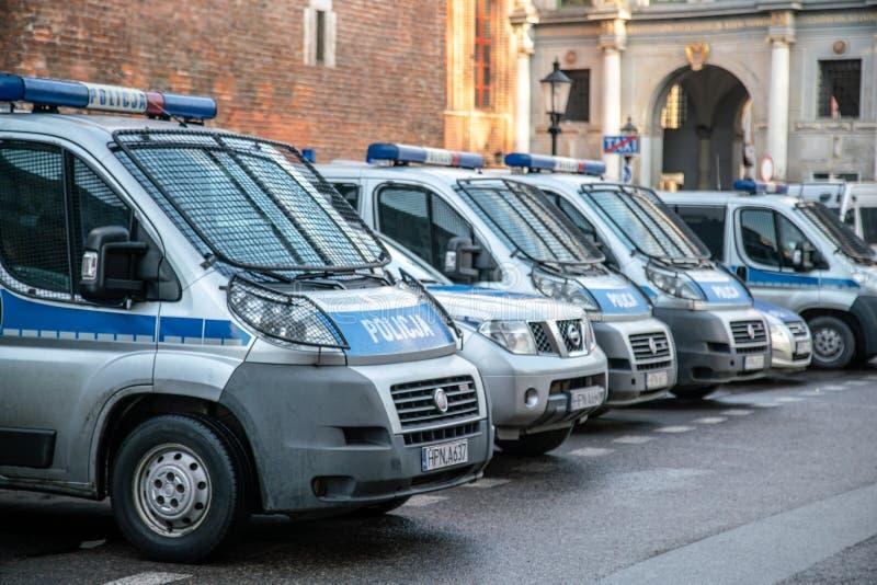 Krakow, Poland - January 2019: Editorial Image of the police car in Krakow city centre stock image