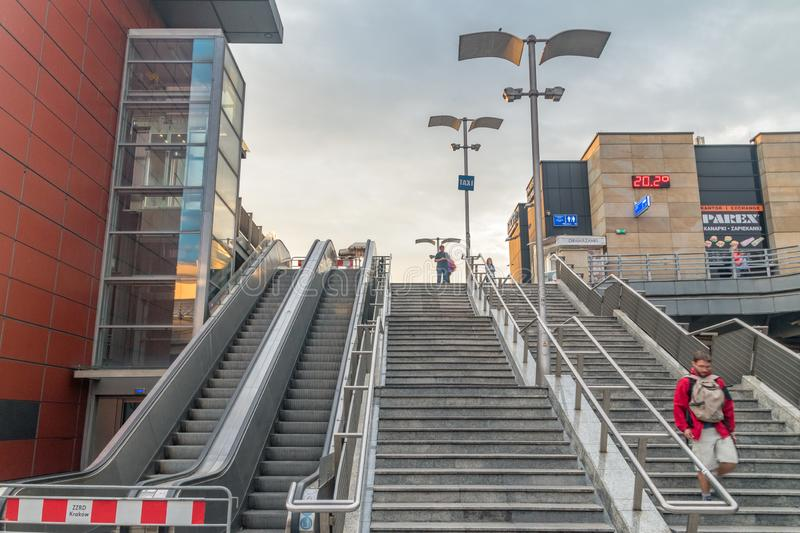 Stairs to MDA bus station from Krakow Glowny railway station at sunrise time royalty free stock photo