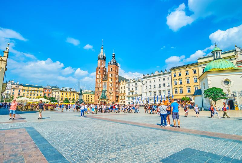 Panorama of Main Market Square in Krakow, Poland royalty free stock images