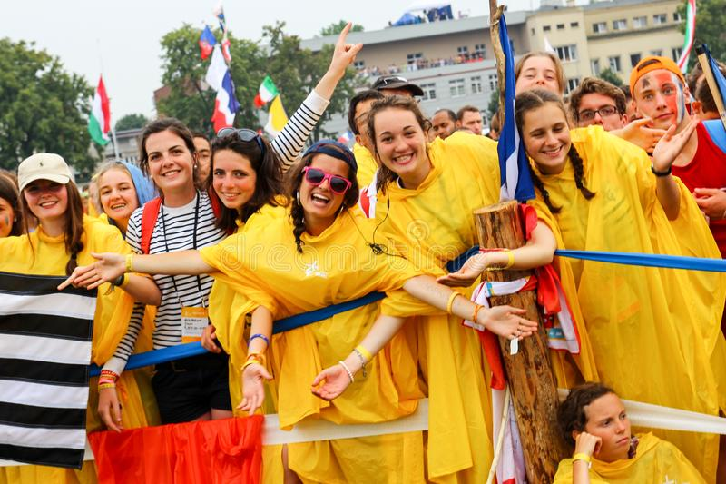 KRAKOW, POLAND - 2016: Krakow Blonia, World Youth Day 2016, yo royalty free stock photos