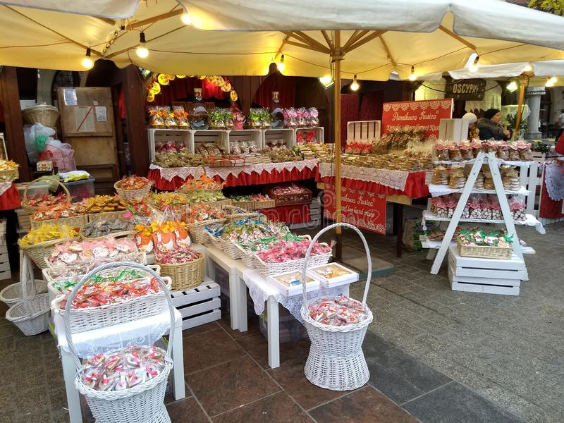 Krakow / Poland - March 23 2018: Easter fairs on the market Rynok square in Krakow. Kiosks with souvenirs, sweets and food. stock image