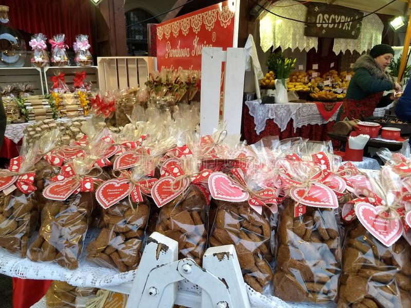 Krakow / Poland - March 23 2018: Easter fairs on the market Rynok square in Krakow. Kiosks with souvenirs, sweets and food. stock images