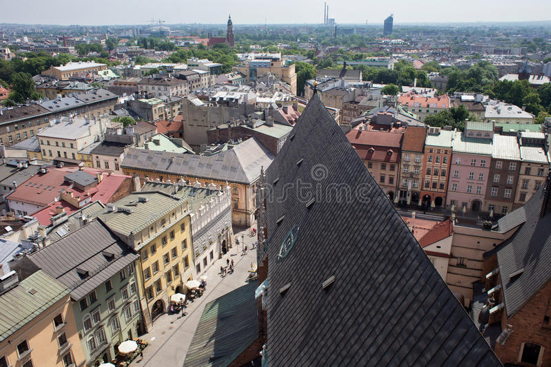 KRAKOW, POLAND - MAY 29, 2016: Aerial view of the roofs of houses in the eastern historic part of Krakow. Poland. stock images