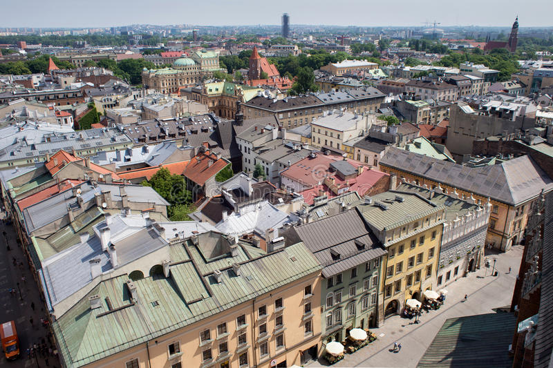 KRAKOW, POLAND - MAY 29, 2016: Aerial view of the roofs of houses in the northeastern historic part of Krakow. Poland. royalty free stock photos