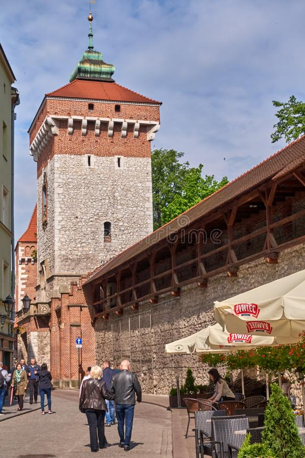 KRAKOW, POLAND - MAY 12, 2019: Florian`s gate on 12 May 2019 in stock photo