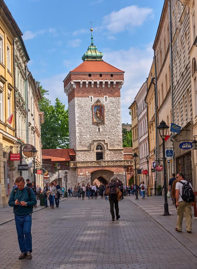 KRAKOW, POLAND - MAY 12, 2019: Florian`s gate on 12 May 2019 in royalty free stock image