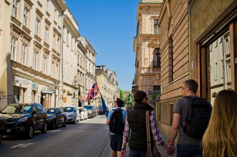 Krakow, Poland - May 05, 2018: the guided tour of the city royalty free stock photography