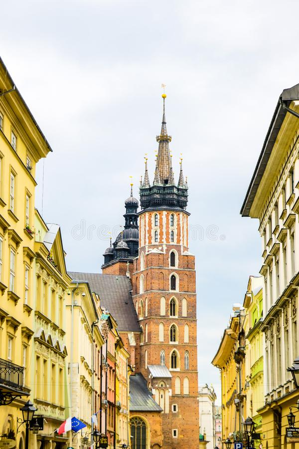 Krakow, Poland - May 21, 2019: Krakow. St. Mary`s Church and market square stock image