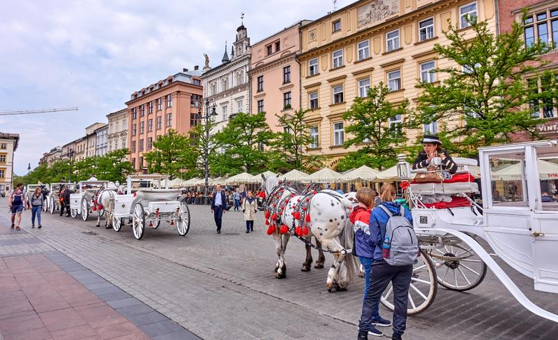 KRAKOW, POLAND - MAY 12, 2019: Main squer on 12 May 2019 in Krak royalty free stock photos