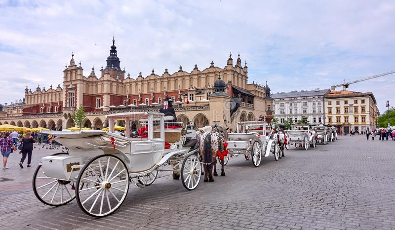 KRAKOW, POLAND - MAY 12, 2019: Main squer on 12 May 2019 in Krak royalty free stock photo