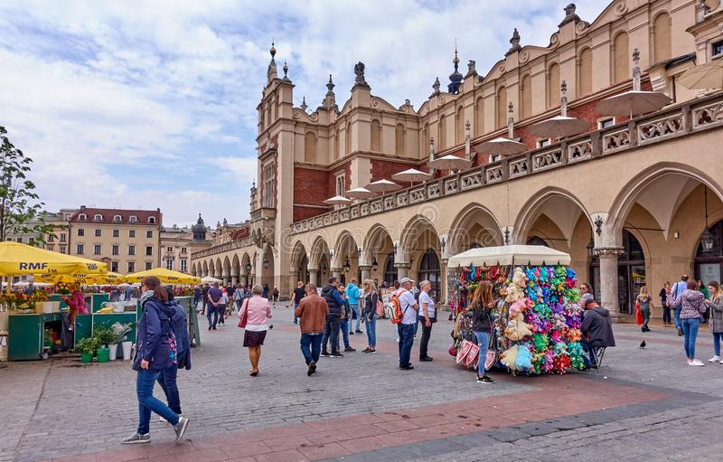 KRAKOW, POLAND - MAY 12, 2019: Main squer on 12 May 2019 in Krak stock photos