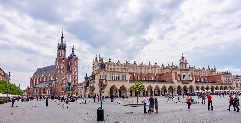 KRAKOW, POLAND - MAY 12, 2019: Main squer on 12 May 2019 in Krak stock image