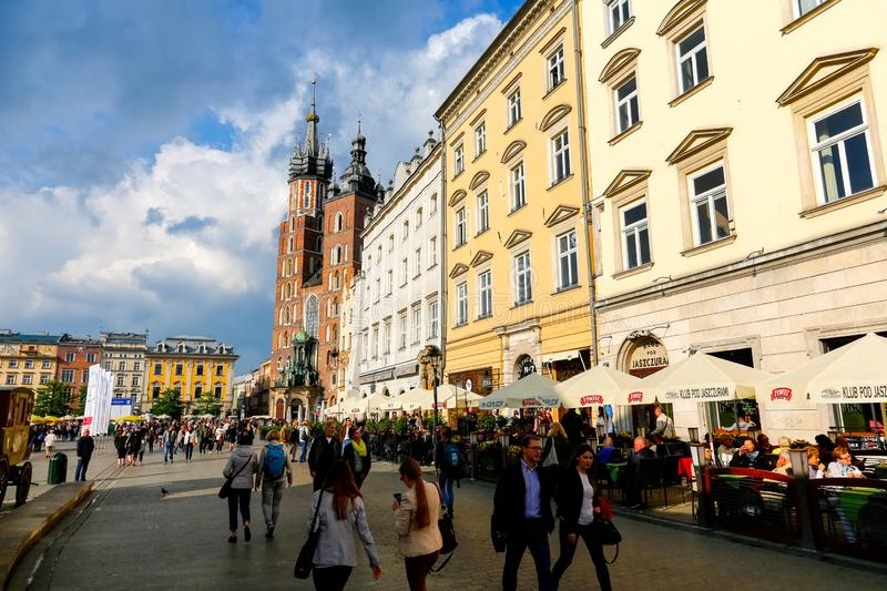 Old Town square view in Krakow stock image