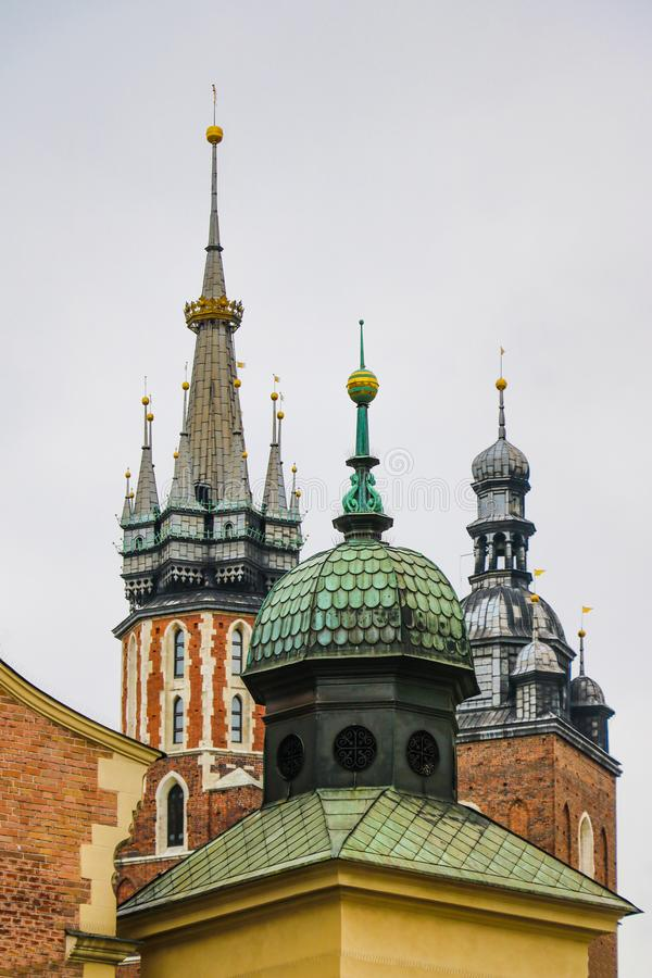 Krakow, Poland - May 21, 2019: Spiers of churches and churches in the old part of Krakow stock photos