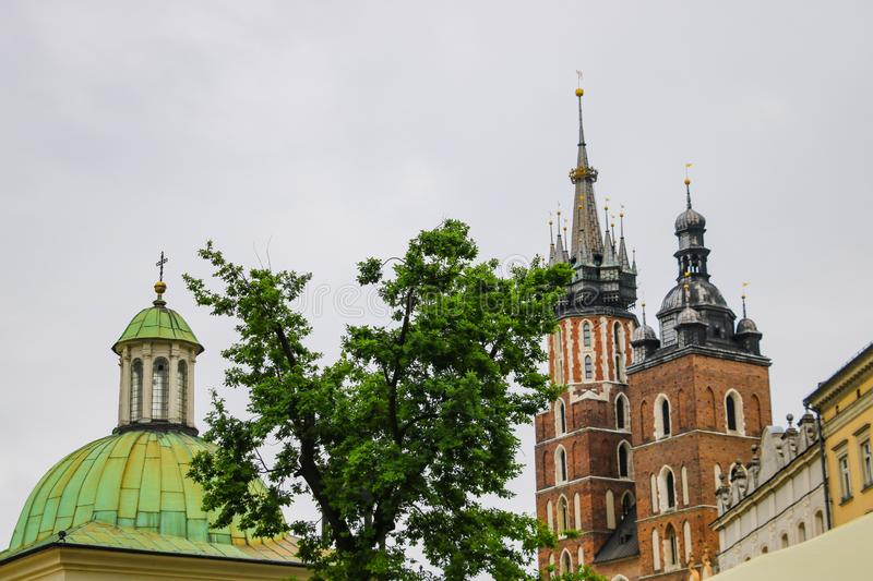 Krakow, Poland - May 21, 2019: Spiers of churches and churches in the old part of Krakow royalty free stock images