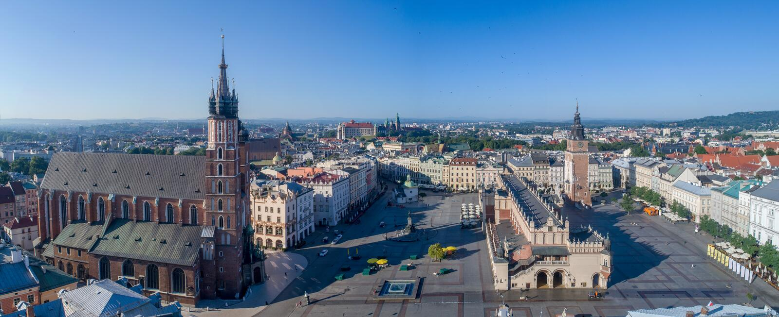 Krakow, Poland. Old city wide panorama with all main monuments royalty free stock photo
