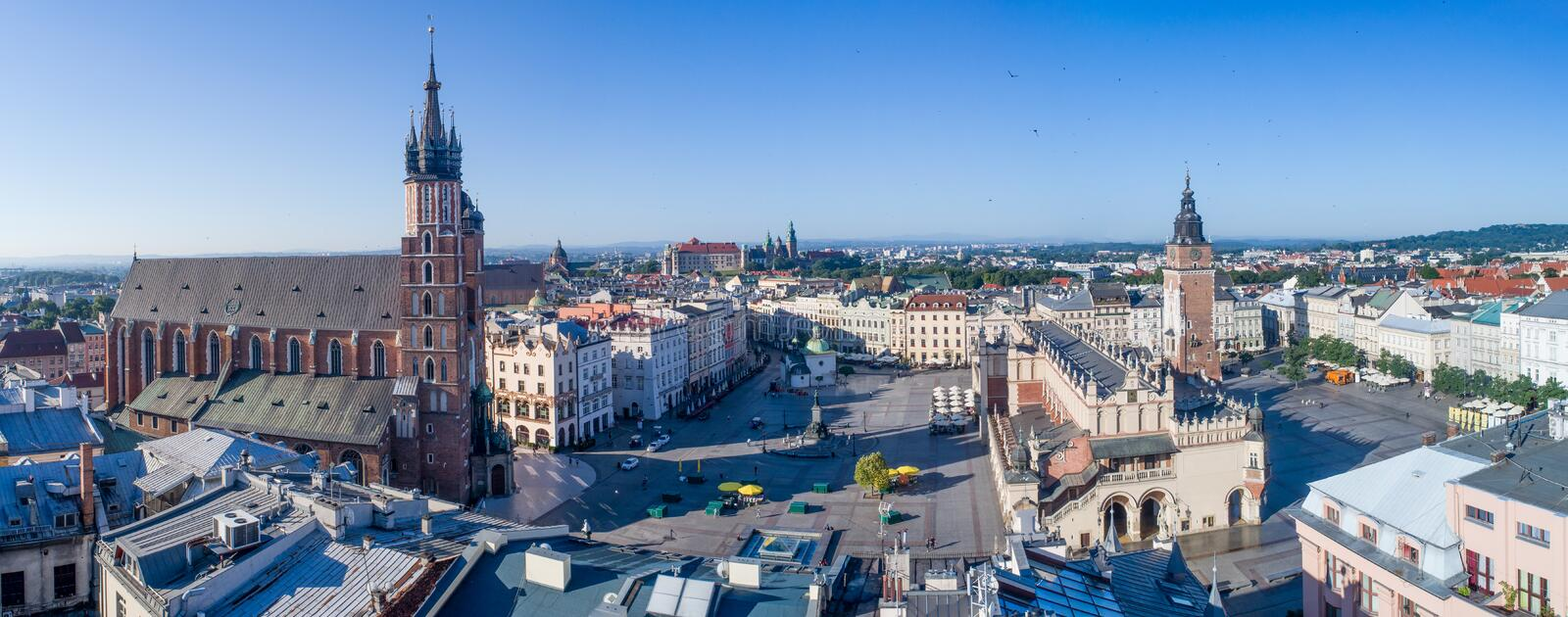 Krakow, Poland. Old city wide panorama with all main monuments stock photography
