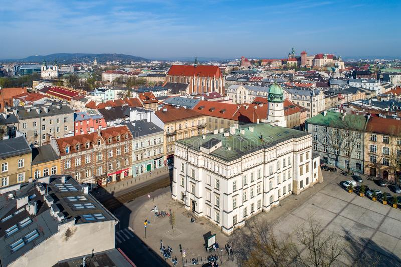 Krakow, Poland. Old Kazimierz town hall. Old town hall of Kazimierz town, then the Jewish district of Krakow, Poland, situated at Wolnica Square. Wawel Castle stock photography