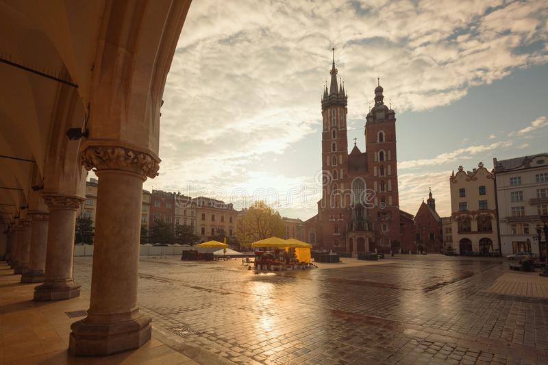 Krakow. Old town square. Krakow in Poland, Old town square stock images